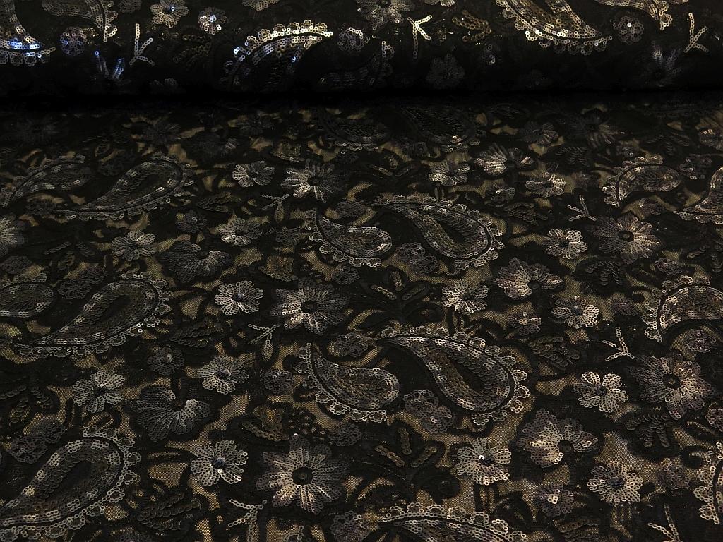 t ll mit pailetten bestickt schwarz silber 25 00. Black Bedroom Furniture Sets. Home Design Ideas